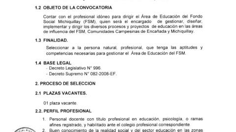 Se busca Jefe de Area de Educación para el Fondo Social Michiquillay, Cajamarca