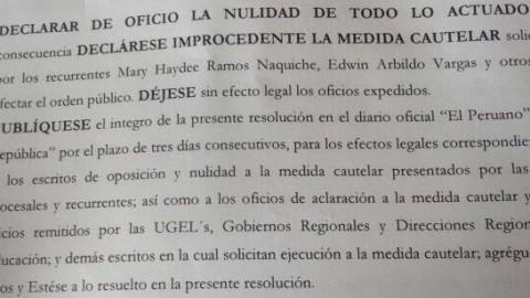Resolución Judicial que declara improcedente la demanda de los directores de I.E que no han sido evaluadas