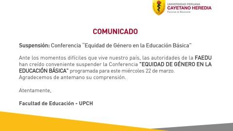 """Conferencia: """"Equidad de Género en la Educación Básica"""""""