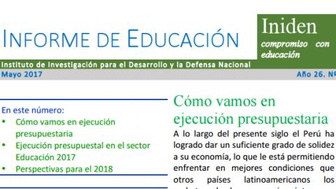 Nueva edición de Informe de Educación de INIDEN sobre ejecución presupuestal