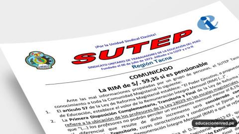 La RIM de S/. 59,35 sí es pensionable, indica el Sutep